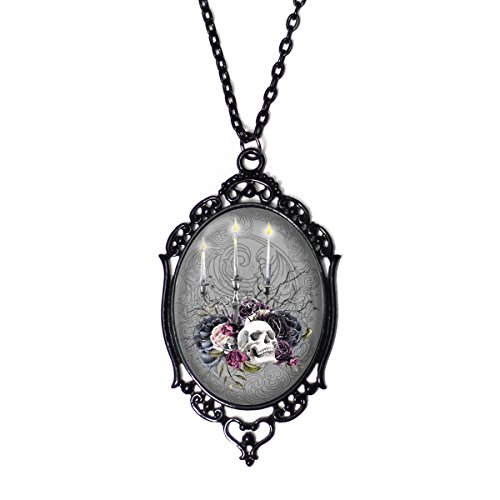 Project Pinup Skull Candleabra 30x40mm Glass Black Cameo Filigree Metal Necklace on 18