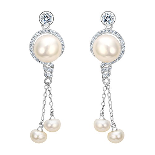 EleQueen 925 Sterling Silver CZ AAA Button Cream Freshwater Cultured Pearl Round Bridal Drop Earrings (9mm)