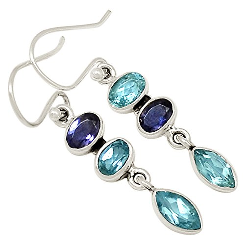 Iolite Topaz Bracelet - Xtremegems Blue Topaz & Iolite 925 Sterling Silver Earrings Jewelry 1 1/2
