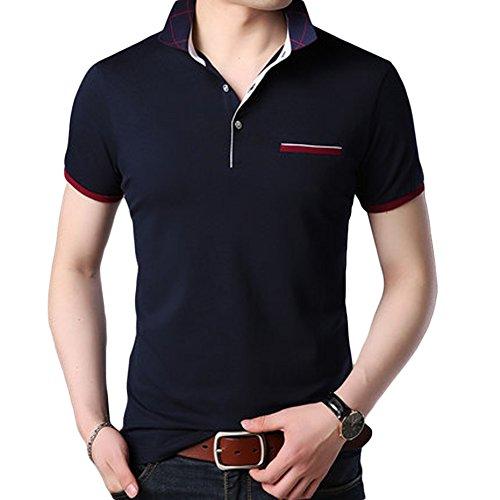 (habille)メンズ シンプル ポロシャツ POLO チェック 襟 父の日 プレゼント ゴルフ ウェア 半袖 夏 上品 ゆったり 大きいサイズ おまけ付(3XL/ネイビー)