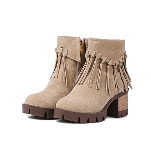 Áspero C De Gran Botas Tamaño Flecos Fondo Grueso Zapatos Color Sólido Pequeño Tacón Con 39 Mujer Rpq6dIIwB