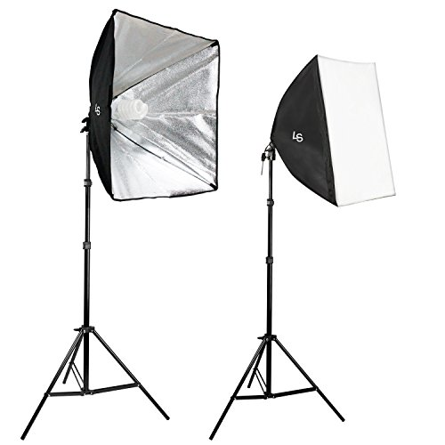 LS Photography [Set of 2] Large 24'' Soft Box Lighting Kit with 86'' Adjustable Light Stand, 85W Compact Fluorescent Photo Bulb, Bulb Socket, and Carry Bag LGG750 by LS Photography