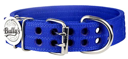 Pitbull Collar, Dog Collar for Large Dogs, Heavy Duty Nylon, Stainless Steel Hardware (XL-1.5 Inches Wide, Sapphire Blue)