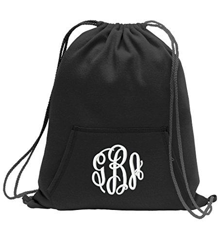 All about me company Personalized Monogram/Name Sweatshirt Cinch Bag With Front Pocket (Jet Black)]()