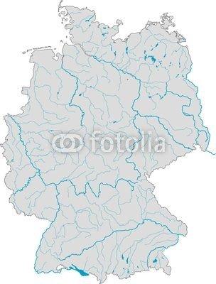 deutschlandkarte nur für flüsse Poster Bild 70 x 90 cm: