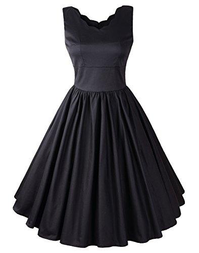 - Penelope Vintage 1950s Rockabilly Scallop Brenda Swing Dress (US16, Black)