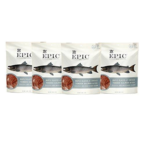 (Epic Jerky Bites, 100% Wild Caught, Maple Glazed & Smoked, Alaskan Salmon, Coconut Oil 2.5 oz. (4 Count))