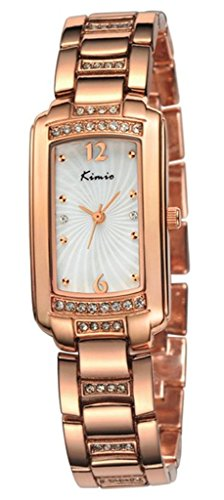 Tidoo Luxury Bracelet Watches in Rose Gold with Japaneses Movement Staintless Steel Retangle Wristwatch for Office Ladies