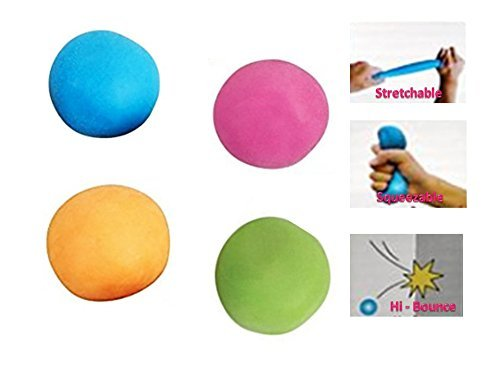 M & M Products Online Squishy Pull & Stretch Stress Bounce Balls (4-Pack): Tear Resistant Material for Long Lasting Use - Great Fidget Toy to Relieve Stress and Anxiety
