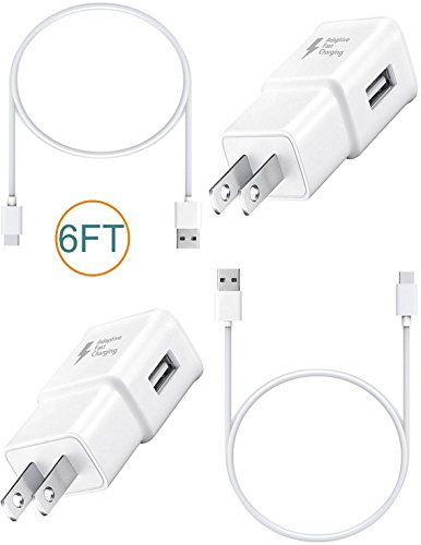 LG G6 / LG G6 Charger! Adaptive 6 FEET with Type-C Cable Combo Kit Set. {2 Wall Chargers + 2 Type-C Cables} Fast Charging uses dual voltages for up to 50% faster charging!