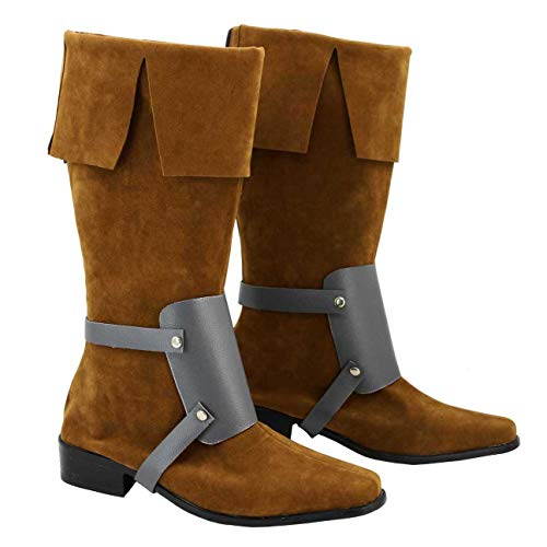 GOTEDDY Adult Rider Cosplay Boots Brown Shoes Costume Accessories]()