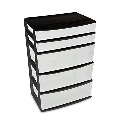 homz-plastic-5-drawer-wide-cart-black-frame-clear-drawers