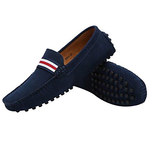 Rismart Hommes Élégants Nato-rayure Conduite Mocassins Chaussures Confort À La Main En Daim Mocassin Pantoufles Marine Sn19869 Us8