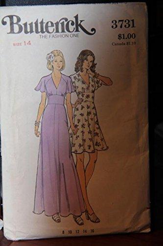 (Vintage Butterick Pattern 3731 Size 14 - Misses' Dress - (uncut pattern, envelope has wear))