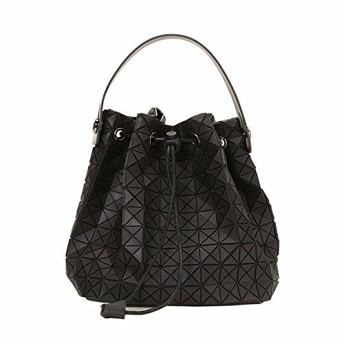 Dama Moda Geometría Plegable Lingge Bolso Hombro Bolsa De Cubo Black