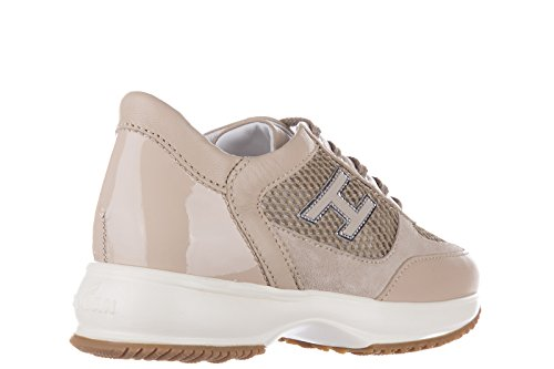 Hogan scarpe sneakers bambina pelle nuove interactive h flock beige