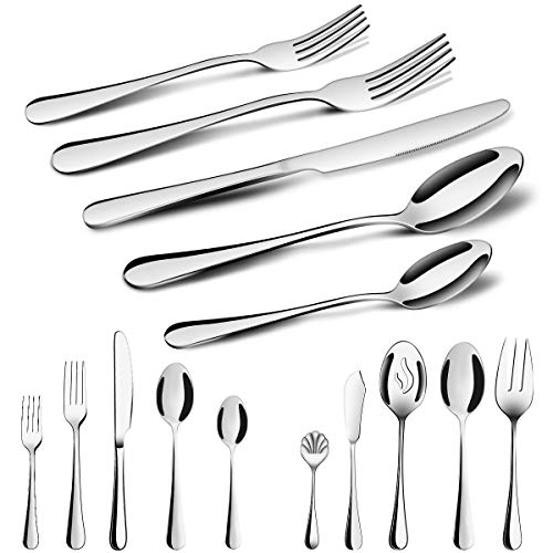Silverware Set,MCIRCO 45 Pcs Flatware Set Serve for 8 Stainless Steel Forks Spoons Knives Set, Mirror Polished Cutlery Flatware Set with Large Serving Set