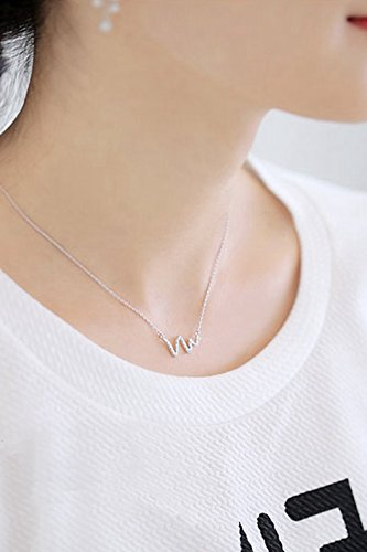(Unique Women Gift Micro-Lightning Snake Diamond Necklace Pendant Women Girls Short Clavicle Chain Twisted Fashion Jewelry Gift Heartbeat)