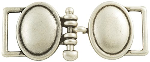 Two Solid Ovals Interlinked with a Peg in Antique Silver Finish.