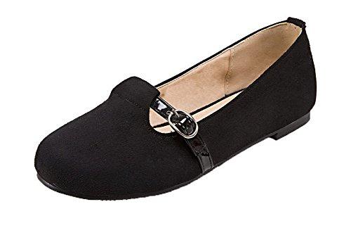 AgooLar Damen Ohne Absatz Schön Velours Ziehen auf Schließen Zehe Pumps Schuhe Schwarz