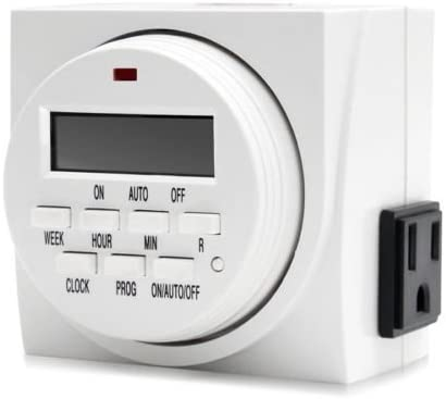 VIVOSUN Dual Outlet Digital Program Timer 7-Day On//Off Switch for Hydroponics