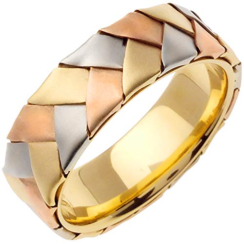 14k Tri-color (Yellow Rose White) Gold Braided Basket Men's Comfort-fit Wedding Bands (7mm) Size-9.5
