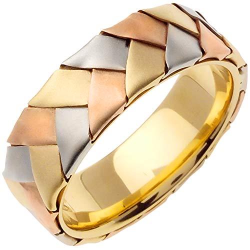 14K Tri Color Gold Braided Basket Weave Men's Comfort Fit Wedding Band (7mm) ()