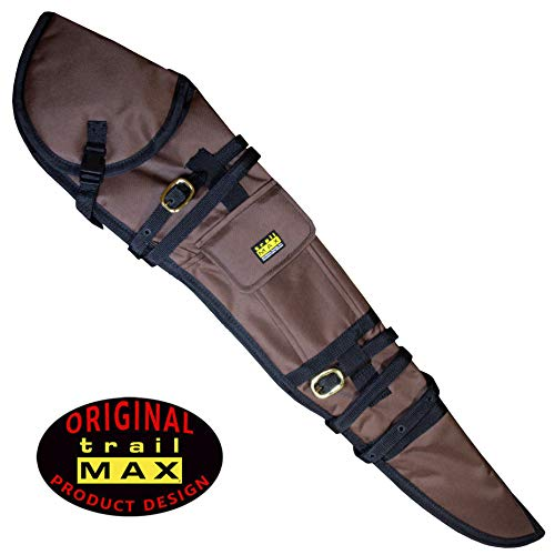 Scabbard Rifle Saddle (TrailMax Rifle Scabbard, Soft-Sided Gun Case, Quick Access, Accommodates 26 inch Barrel & 56mm Scope with 1 inch Turrets, Secure on a Horse or ATV, PVC-Coated 600-denier Poly Shell, Brown)