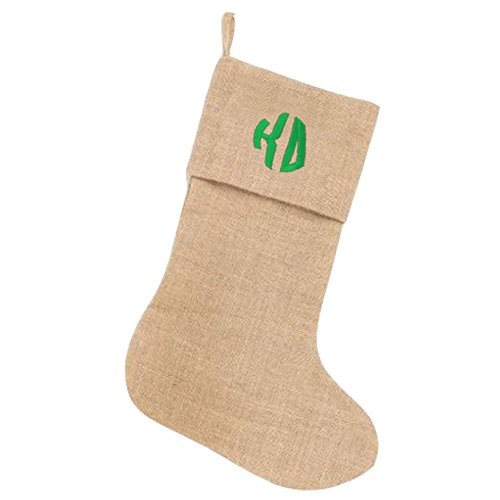 kappa-delta-circle-monogram-burlap-christmas-stocking-tan-w-kelly-green
