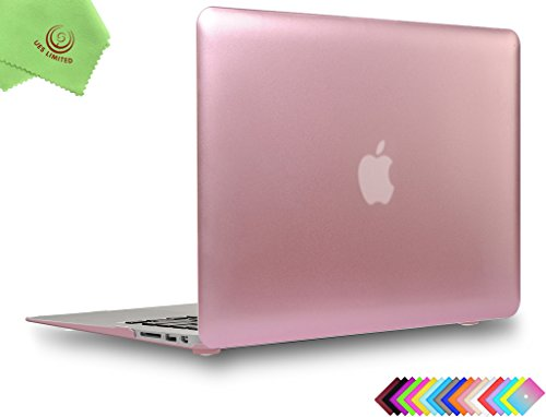 """Price comparison product image UESWILL Luxury Gold Metallic Coated Matte Frosted Hard Shell Case Cover for MacBook Air 13"""" + Microfibre Cleaning Cloth,  Rose Gold"""