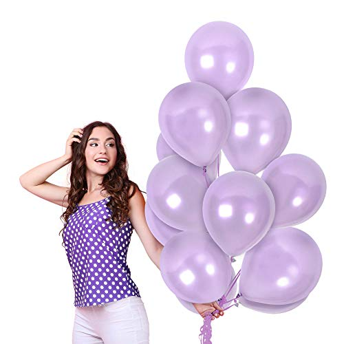 Pearlized Metallic Lilac Lavendar Balloons 12 Inch Latex Pastel Light Purple Balloons 100 Pack for Mermaid Under the Sea Party Decorations Bridal Baby Shower Graduation Decor Supplies