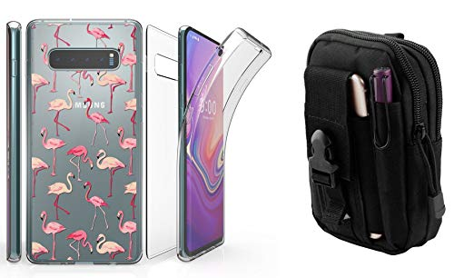 Beyond Cell Tri Max Series Compatible with Samsung Galaxy S10 with Slim Full Body Self Healing Screen Protector Case (Pink Flamingos), Travel Pouch and Atom Cloth