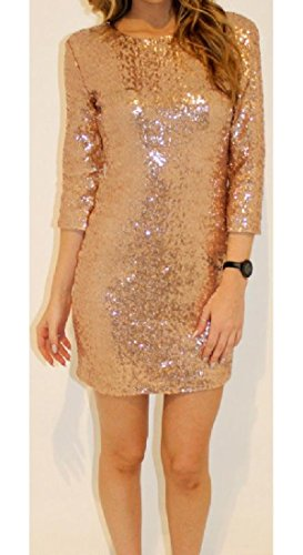 Silm Dresses Cut Women Party Out Evening Club Sequins Back Coolred Pencil golden w1Xvqq