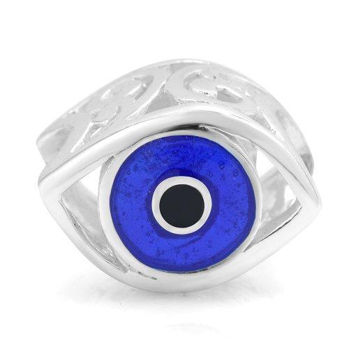 925 Sterling Silver Blue Enamel Evil Eye Bead Charm Fit Major Brand Bracelet Enamel Evil Eye
