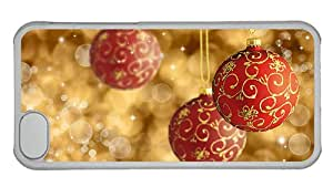 Hipster iPhone 5C cover fashion red gold xmas balls PC Transparent for Apple iPhone 5C