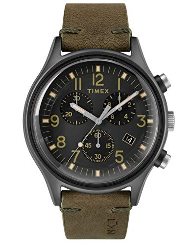Timex Mens Chronograph Quartz Watch with Leather Strap TW2R96600