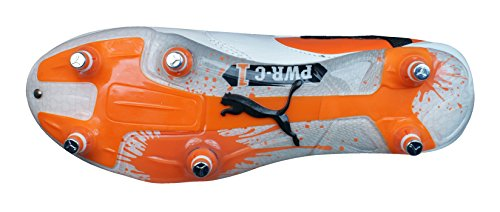 Puma , Herren Rugbyschuhe White / Black / Team Orange, Weiß - White / Black / Team Orange - Größe: 44