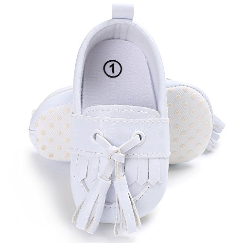 Lanhui Newborn Leather Crib Soft Sole Shoe Sneakers Baby Shoes Boy Girl Shoes White by Lanhui (Image #1)