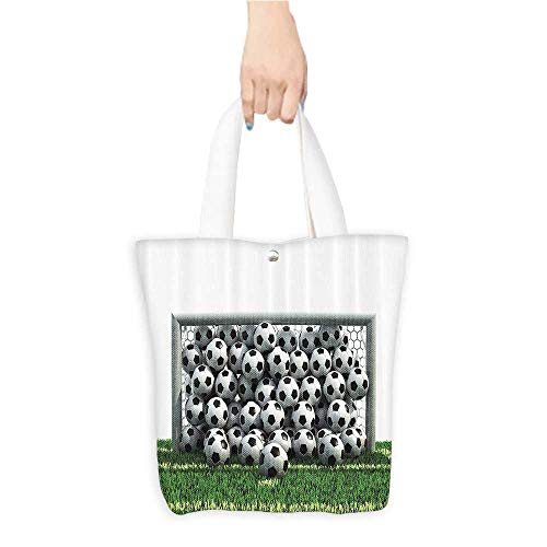 (Travel Shoulder Tote BagNFull of Soccer Balls the Football Field Schoolyard Victory Durable and Practical W16.5 x H14 x D7 INCH)