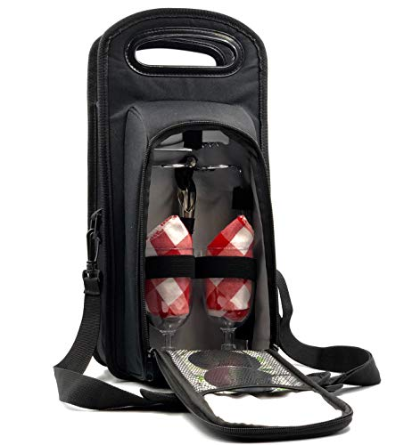 Nerta Products Wine Bag Insulated with Picnic Set Perfect for Picnic, BYO, Travel, Wine Lovers or Valentines Gift. Tote Includes Corkscrew, dropstop, Napkins, Glasses, Stakes, Wine Stopper