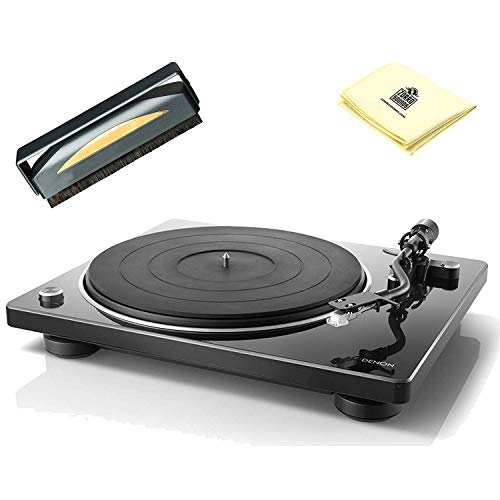 Denon DP400 Compact HiFi Turntable with Built-in Phono Equalizer & Speed Auto Sensor (Includes MM Cartridge) with Anti Static Record Cleaner Brush and Zorro Turntable Cleaning Cloth