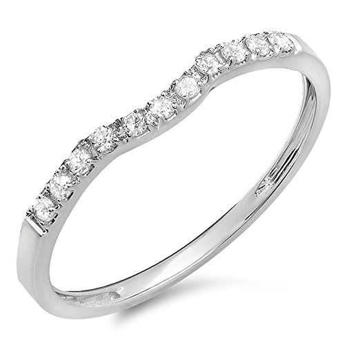 0.15 Carat (ctw) 14K White Gold Round Diamond Ladies Wedding Stackable Contour Guard Band (Size 7) by DazzlingRock Collection