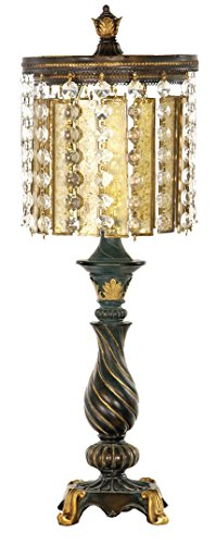 Dimond Lighting 93-090 Amber and Crystal 1-Light Table Lamp, Gold Leaf