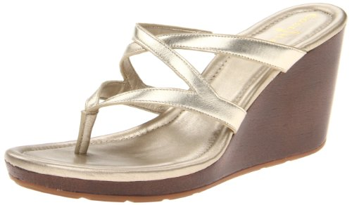 Cole Haan Women's Air Janie Thong Sandal (10 B (M) US, White Gold Metallic)
