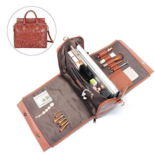 Brenice Travel Makeup Bag, Embossed Flower Handbags Vintage Large Capacity Leather Bohemian Shoulder Bag Brown 12.2''x 5.71''x 11.42''(LxWxH)