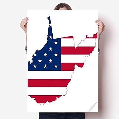 DIYthinker Virginia USA West Map Stars Stripes Flag Shape Vinyl Wall Sticker Poster Mural Wallpaper Room Decal 80X55cm
