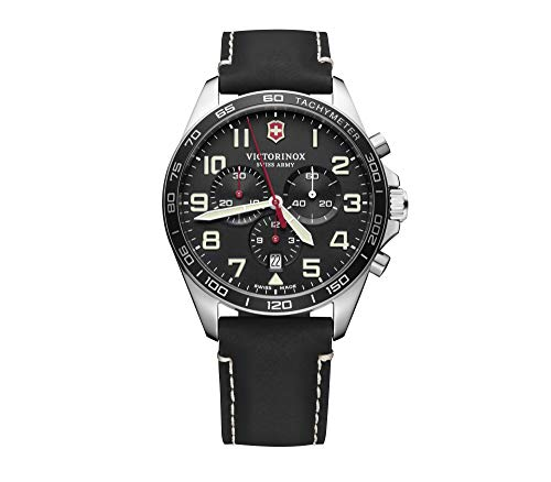Victorinox Fieldforce Chrono, Black dial, Black Leather Strap