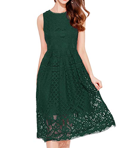 VEIISAR Womens Fashion Sleeveless Lace Fit Flare Elegant Cocktail Party Dress (Dark Green L)