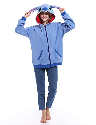 Stitch Costume Cute Animal Hoodie Halloween Cartoon Costume for Women Men and Teenagers Blue]()