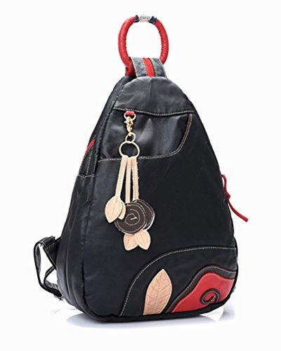 PU Cuero Moda Estudiante CHENGYANG Casual de Negro Bolso Mujeres Mochila de Bolsas Escuela Viaje 0wwqafS